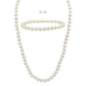 White Freshwater Cultured Pearl Necklace, Bracelet and Stud Earrings Set