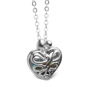 Loving Family Sterling Mother's Heart Gift Locket with Set of 12 Birthstones