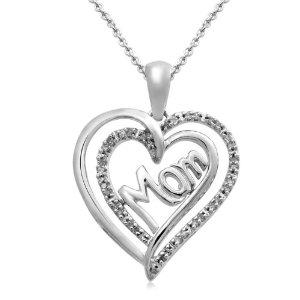 Mom Pendants SilverDiamond Heart Necklace