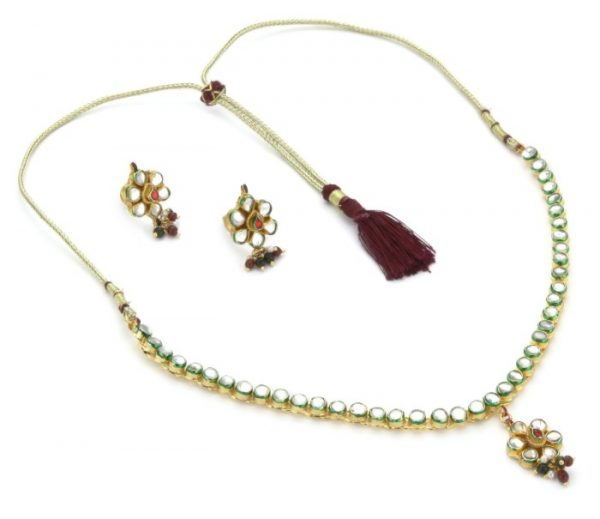"Taara ""Mughal Collection"" Mirrored Kundan Necklace and Earrings Set"