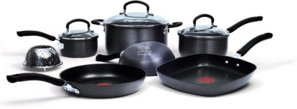 Jamie Oliver T-fal 10 Piece Anodized Nonstick Cookware Set
