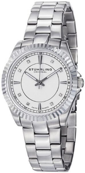 Stuhrling Original Women's 408L.12111 Swiss Quartz Black Dial Stainless Steel Bracelet Watch