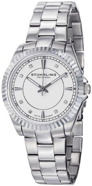 Stuhrling Original Women's 408L.12111 Swiss Quartz Black Dial Stainless Steel Bracelet Watch