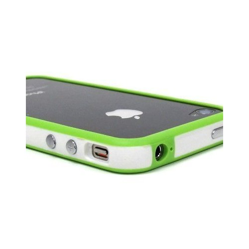 White and Green Premium Bumper Case for Apple iPhone 4