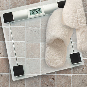 Glass Bathroom Scale with LCD Read out display