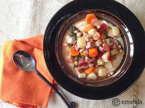 Ham, Kale and Navy Bean Stew Slow Cooker Recipe