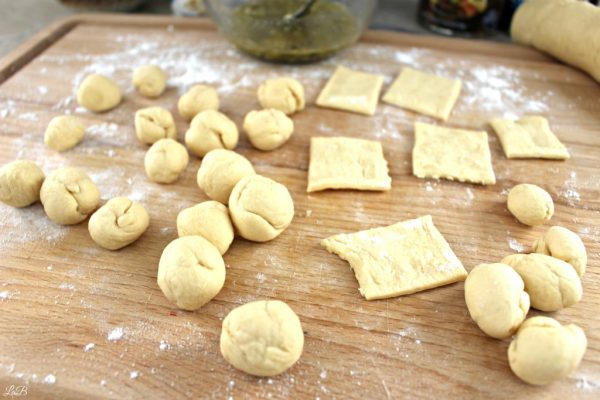 Making Monkey Bread with Crescent Rolls