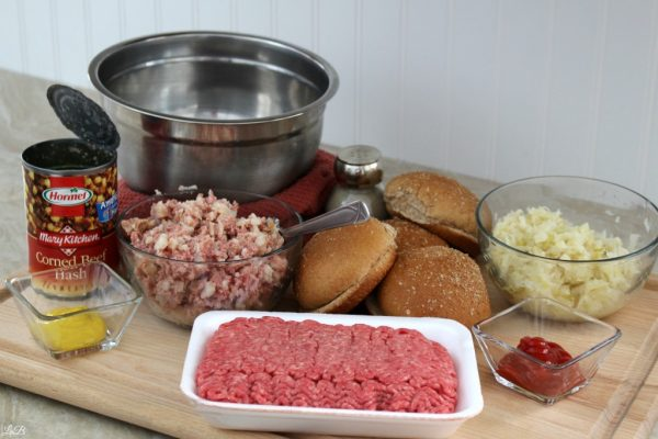 Ingredients for Corned Beef Hash & Sauerkraut Burgers