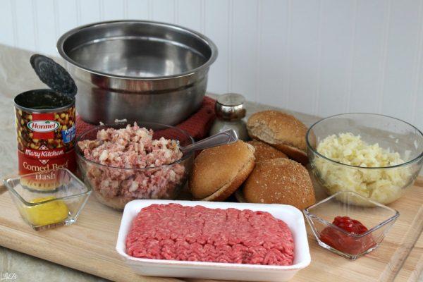 Ingredients for Corned Beef Hash & Sauerkraut Burgers