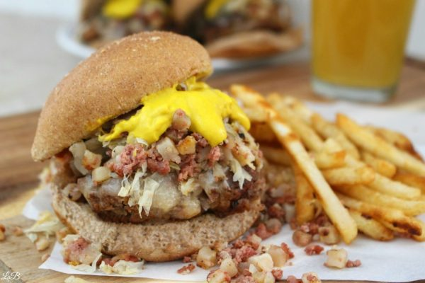 Kraut Burgers with Corned Beef Hash
