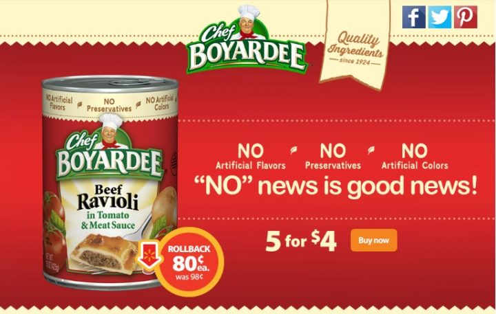 Chef Boyardee on Rollback at Walmart Stores