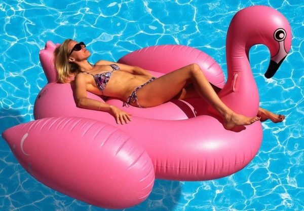Pink Flamingo Pool Floating Raft