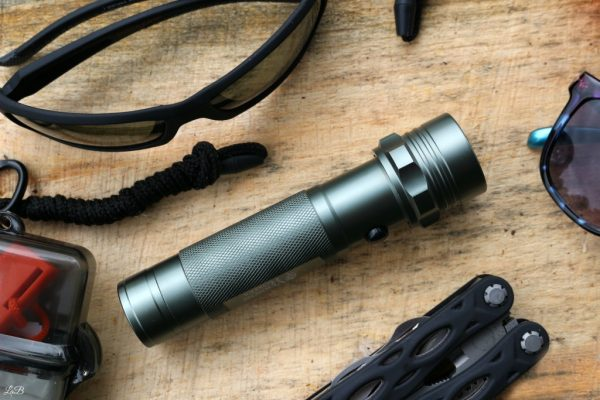 A waterproof flashlight for hiking.