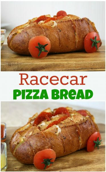 We're making a race day pizza racecar! Host a party for family and friends. Check out this easy Italian bread pizza racecar recipe, it'll feed the whole crew!
