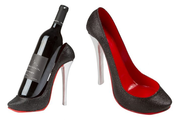 Wine bottle holder shaped like high heel shoe