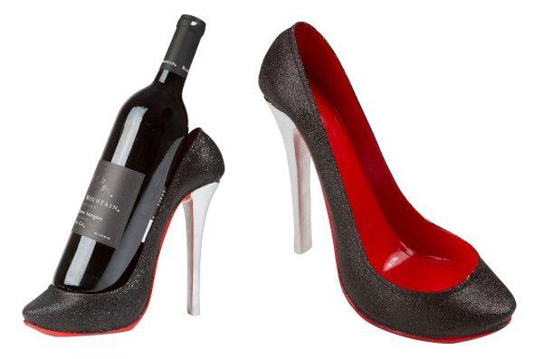 Wine bottle holder shaped like high heel shoe