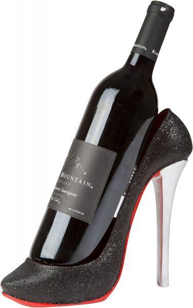 High Heel Wine Bottle Holder. A high heel shoe shaped wine bottle holder.