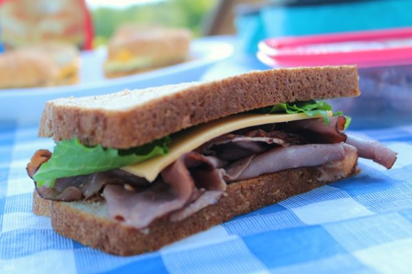 Lunch box sandwich with Hillshire Farm Roast Beef