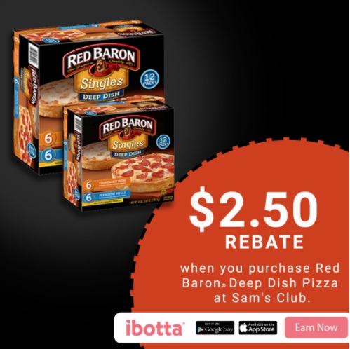 Craving a delicious, deep dish fix for dinner? Looking to save you and your family timeandmoney during this busy holiday season? Pick up Red Baron® Deep Dish Single Serve Pizza from your local Sam's Club! Don't miss this greatIbotta offer! When you buy Red Baron® Deep Dish Pizzas at Sam's Club, you will earn $2.50! *Offer available through 12/31/17.