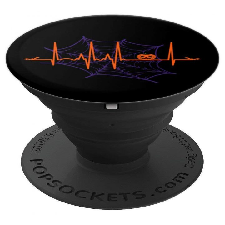 Pumpkin Heartbeat Halloween With Jack O Lantern, Spider Web - PopSockets Grip and Stand for Phones and Tablets
