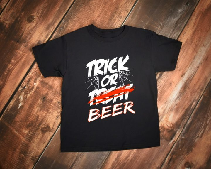 Trick or beer - Trick or treat adult Halloween t-shirt! Funny trick or treating shirt for Halloween parties and more!
