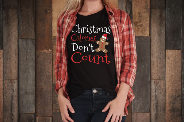 Christmas calories don't count shirt! Funny t-shirt for xmas time, great for bakers, and sweets eaters! Everyone loves Christmas food, but we don't want the calories to count!