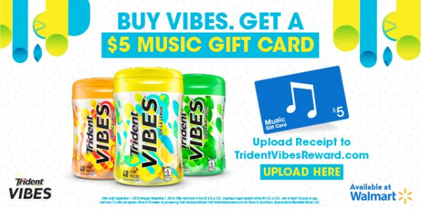 What's better than getting something free after purchasing your favorite gum? You simply upload your Walmart receipt, including the purchase of Trident VIBES® gum, and wait for it to be validated and you'll receive a $5 iTunes gift card. Trident VIBES® has this rebate offer running until 11/1!