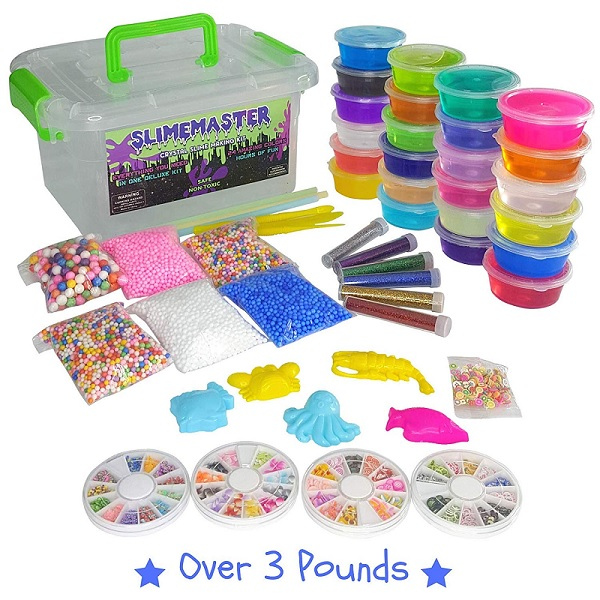 Easy slime making kit. Make slime at home and include all these fun add-ins, glitter, beads and more!