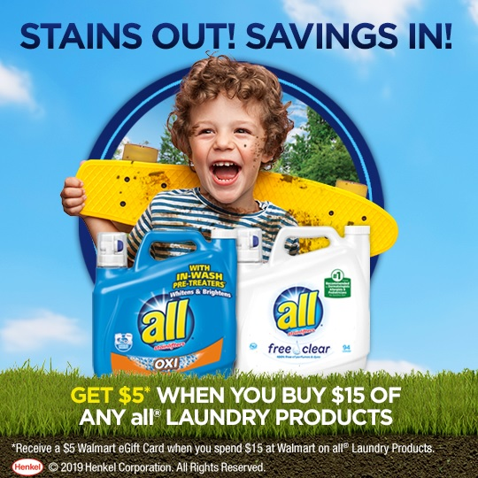Spend $15 on all® laundry products you can receive a $5 Walmart eGift Card.