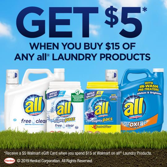 When you spend $15 on all® laundry products you can receive a $5 Walmart eGift Card. Check out the information below for details!