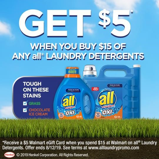 Is there anything better than fresh, clean laundry? Are you a pro at removing tough stains from your family's clothing? Right now, when you spend $15 at Walmart on all® laundry detergents, you can receive a $5 Walmart eGift Card.